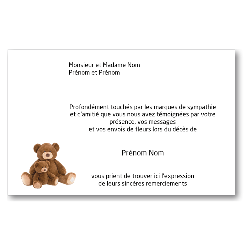 Carte de Remerciements de Condoléances - CD128x82IT_ENF4